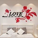 GOUZI Romantische 3d Acryl Schlafsofa, TV Liebe rattan richtige Edition + schwarze und rote Blume ultra-kleine abnehmbare Wall Sticker für Schlafzimmer Wohnzimmer Hintergrund Wand Bad Studie Friseur