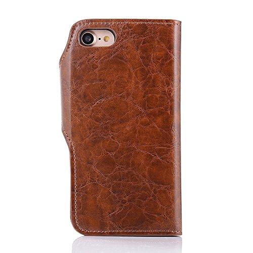 iPhone 7 Coque,iPhone 8 Coque,Valenth 2 en 1 Flip Leather Coque [Emplacements de carte] avec fonction Stand Protective Crazy Horse Pattern Wallet Etui Back Coque pour iPhone 8 / iPhone 7 Blown