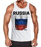 EM Tanktop Herren Fußball Russland Russia Flagge Fanshirt Waschbrettbauch Muskelshirt MoonWorks® weiß M