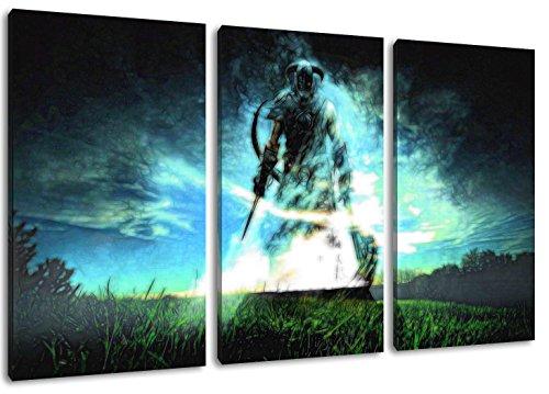 Skyrim Motiv, 3-teilig auf Leinwand (Gesamtformat: 120x80 cm), Hochwertiger Kunstdruck als Wandbild. Billiger als ein Ölbild! ACHTUNG KEIN Poster oder Plakat! (Call Of Duty 4 Nintendo Ds)