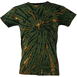 Guru-Boutique, T-Shirt Tie Dye, T-Shirt Homme à Manches Courtes, Vert Foncé, Coton, Size:M, T-shirts Batik