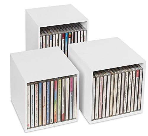 cubix Neu! CD-Box Weiss - 3 CD-Aufbewahrungsboxen aus Holz. Für bis zu 40 Musik-CDs. Dekorative Holzboxen in ansprechendem Design. Schöner kann Man CDs Nicht archivieren, sammeln, ordnen.