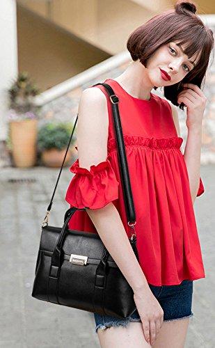 PU Borsa a Tracolla in Pelle Borsetta per le Donne Colore Puro-Rosso Nero