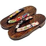 [Giappone Realizzato] Geta Paulownia Legno Sandali tradizionale Calzature Taglia M 24.5cm (Nero-Kiku)
