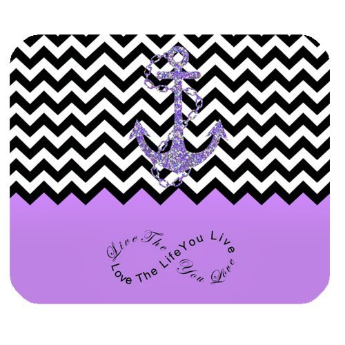Purple Colorblock Chevron Zigzag Infinity Anchor Mouse Pad, Infinity Live The Life You Love, Love The Life You Live Gaming Mouse Pad Mat Mousepad with Non-Slip Rubber Backed