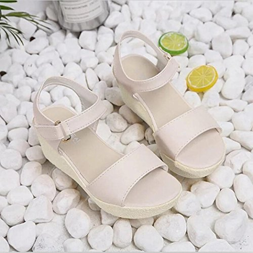 Neue Version ! Kaiki Damenschuhe Wedges Sandalen Plattform Open Toe Plattform Schuh Damen Schuhe Beige