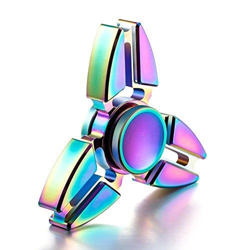 Hand Spinner Toy, Stillshine arco iris de colores de metal de alta velocidad Tri-Spinner juguete Spinner de mano Fidget EDC juguete de oficina para el estrés y alivio de ansiedad (D) - 2
