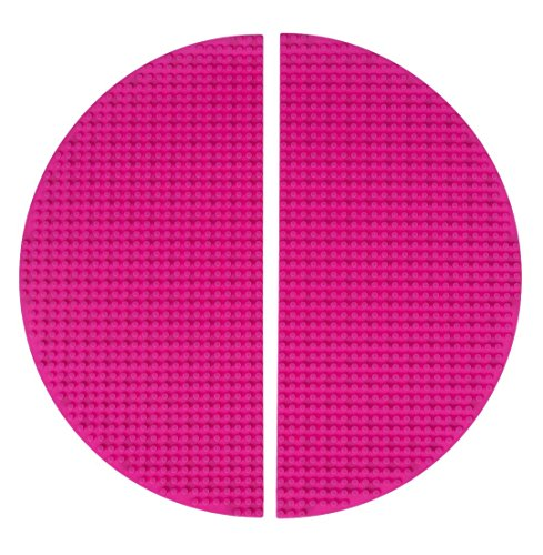 strictly-briks-premium-15-x-7-5-double-sided-half-circle-silicone-baseplate-mat-2-pack-pink-roll-up-