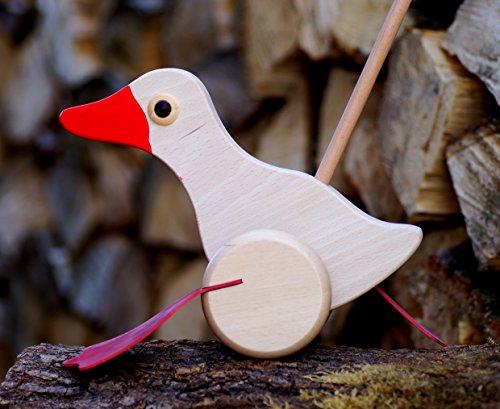 Schiebe-Ente Holz Watschelente Tiere Entchen Laufen Kinder Spielzeug Holzspielzeug