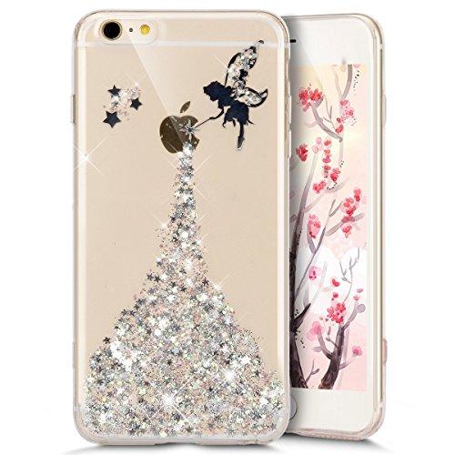 Coque transparente pare-chocs JAWSEU pour iPhone 8 Plus/7 Plus avec glitter en silicone et polyuréthane thermoplastique (TPU)-Motif fée et papillon-Taille 14 cm, iPhone 8 Plus/7 Plus