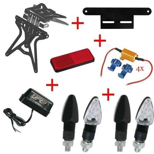 Kit für Motorrad Kennzeichenhalter + 4+ Blinker Kennzeichenbeleuchtung + Widerstände + Reflektor + Halterung Lampa Kawasaki ZZR 12002002–2005