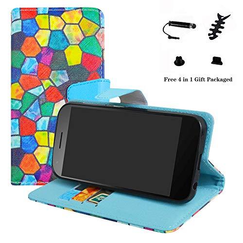 LFDZ Vodafone Smart E8 Hülle, [Standfunktion] [Kartenfächern] PU-Leder Schutzhülle Brieftasche Handyhülle für Vodafone Smart E8 Smartphone (mit 4in1 Geschenk Verpackt),Stained Glass