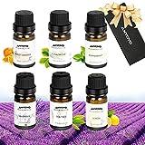 Aromatherapie Duftöl, ANYOYO 100% reines ätherisches Öl, 6x10ml natürliches Bio-Öl (Pfefferminze, Teebaum, Süßorange, Lavendel, Zitrone, Eukalyptus), Aromatherapie-Öl-Geschenk-Set