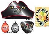 Partyset Roter Pirat für 8 Kinder Hüte Augenklappen Luftballons