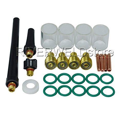 WIG-Gas-Objektiv Collet Body & # 10 Pyrex Cup-Kit DB SR WP 9 20 25 WIG-Schweißbrenner 26pcs