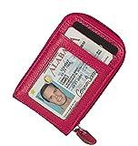 Clci Kreditkartenetui mit RFID Blocker Echtes Leder Geldbörse Card Case für Damen und Herren (Hot Pink)