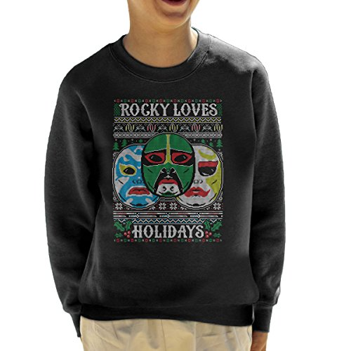 3 Ninjas Masks Holidays Christmas Knit Pattern Kid's Sweatshirt (Tum Colt Tum Rocky)