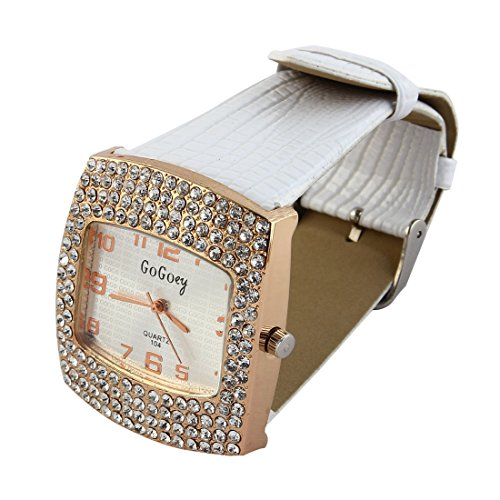 sourcingmap® Weiß Band Strass Dekor Rechteck Gehäuse Armbanduhr für Frauen de