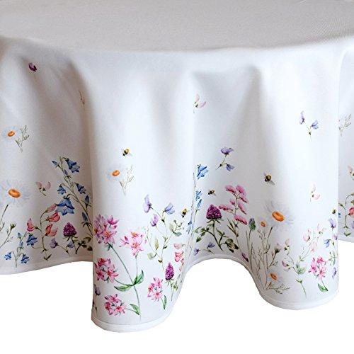 heimtexland Frühling OSTERN Tischdecke rund 130 cm Blumenwiese Digitaldruck weiß bunt Tischdekoration Serie Typ520