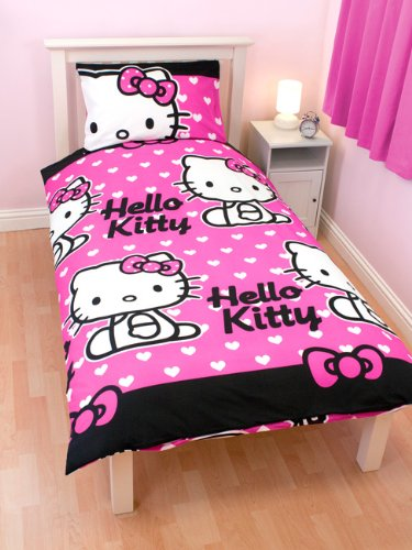 Hello Kitty Hearts einzelnen Rotary Bettbezug und Kissenbezug