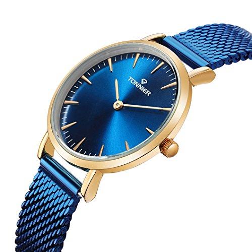 Tonnier Damen-Armbanduhr Edelstahl Slim Elektro-Optik Blau Mesh Quarz Golden Case