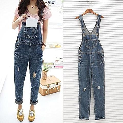 CRAVOG Femmes Casual Jeans Denim Overall Trou vrac Jumpsuit Romper Pantalons Playsuit