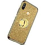 Herbests Kompatibel mit Xiaomi Mi A2 Lite Glitzer Hülle Kristall Bling Diamant Schutzhülle Strass Glänzend Überzug Silikon Handyhülle Durchsichtig Handytasche mit Ring Ständer Halter,Gold