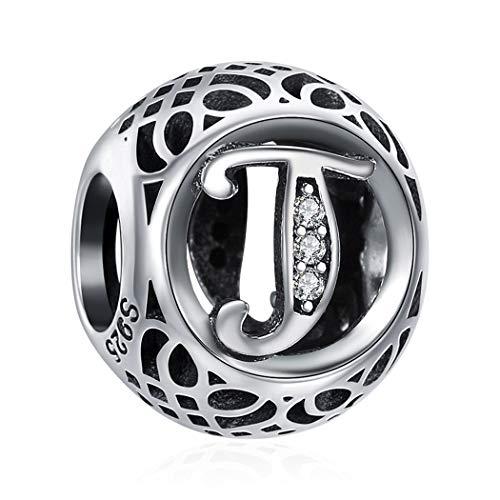 T 925 Sterling Silber Bead Charm Pfoten Element Kugel für European Beads Modul Armband + Organzasäckchen 26 Buchstaben DIY Serie (Sterling Ring Silber Pfote)