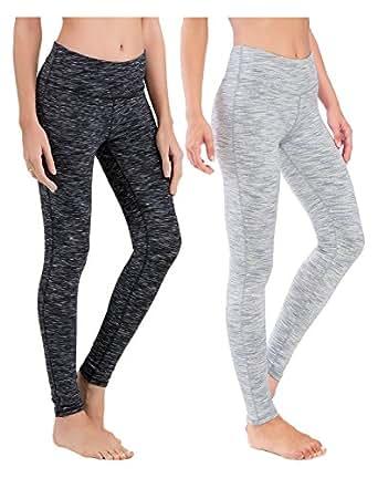 Queenie Ke Women Power Flex Yoga Pants Workout Running Leggings Size XS Color Black Space Dye and White Space Dye 2 Pack
