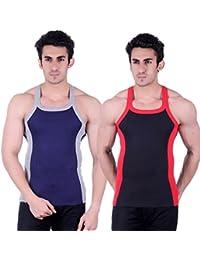Zimfit Gym Vest - Pack of 2 (Black_Blue)