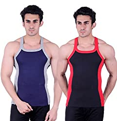 Zimfit Gym Vest - Pack of 2 (Black_Blue_36)