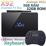 3GB RAM 32GB ROM X92 Android 7.1 Smart TV Box 4K H.265 Amlogic S912 Octa Core Support 2.4G/5G Wifi + I8 Wireless Keyboard