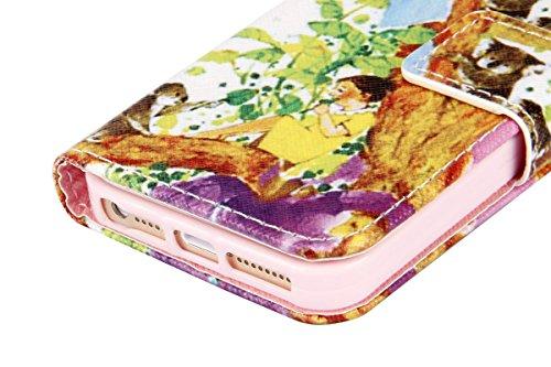 Etsue für Apple iPhone SE/iPhone 5S Blau Anker Streifen Leder Brieftasche Case Hülle Muster, Bunte Retro Painted Wallet Flip Case Cover Leder Case Tasche Bookstyle Lederhülle Magnetverschluß Standfunk Mädchen Bär