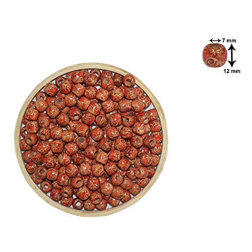 Asian Hobby Crafts Wooden Beads (50 Pieces, 10mm Pattern 2)