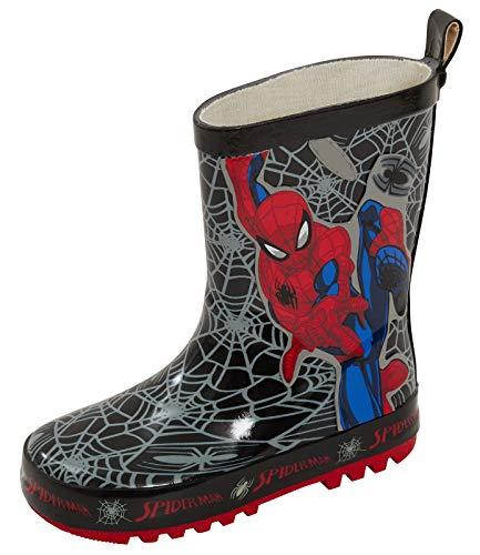 Marvel Spiderman Bottes en caoutchouc pour garçon - Noir - Tissage noir., 25 EU