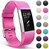HUMENN Armband Für Fitbit Charge 2, Weiches Silikon Sports Ersetzerband Fitness Verstellbares Uhrenarmband für Fitbit Charge 2 Klein Rosa