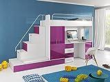 Hochbett TOMI - Schreibtisch, Schrank, Treppe und Gästebett mit Hochglanz-Fronten in weiß / schwarz / rosa / grau / lila / blau (violett)