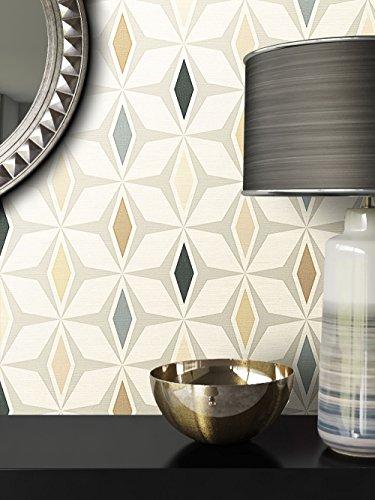 Tapete Vliestapete Beige Braun Optik , schöne, moderne, edle Tapete im Grafik Design , für Wohnzimmer, Schlafzimmer oder Küche inklusive Newroom Tapezier Ratgeber mit Tipps für perfekte Wände