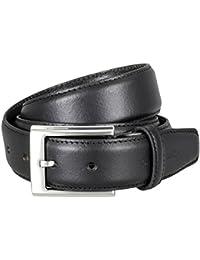 Pierre Cardin Mens leather belt / Mens belt, leather curved, black