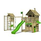 FATMOOSE Kletterturm RebelRacer Super XXL Spielturm Baumhaus Spielgerät Garten mit Rutsche, Schaukel und Turmanbau
