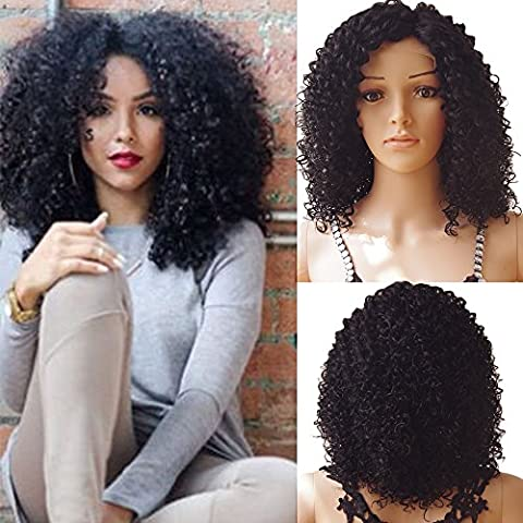 S-noilite® Charming Loose Curly Bob Wig Natural Wavy Deep Curly Lace Front Wigs 1B off Black