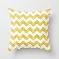 Fancy giallo chevron modello tela piazza federe con cerniera di copertura cuscino federa 45,7x