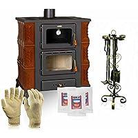 Cerámica Estufa de leña con horno Prity, Modelo FMS RK, salida de calor 12