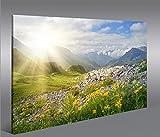 islandburner Bild Bilder auf Leinwand Bergwiese V2 Alpen Landschaft Berge Sonne 1p XXL Poster Leinwandbild Wandbild Dekoartikel Wohnzimmer Marke