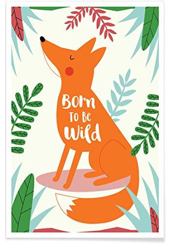 JUNIQE® Poster 20x30cm Geburt & Baby Füchse - Design
