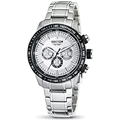 Sector Men's Quartz Watch with Silver Dial Analogue Display and Silver Stainless Steel Bracelet R3253575001