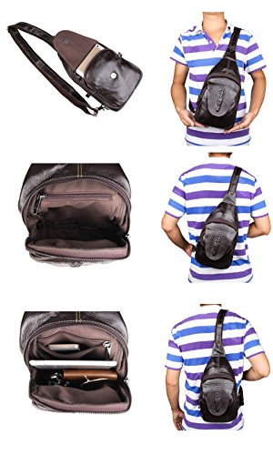 Everdoss Herren echt Leder Chest Pack klein Schultertasche Messenger Bag Crossbody mit Krokodil Muster Braun