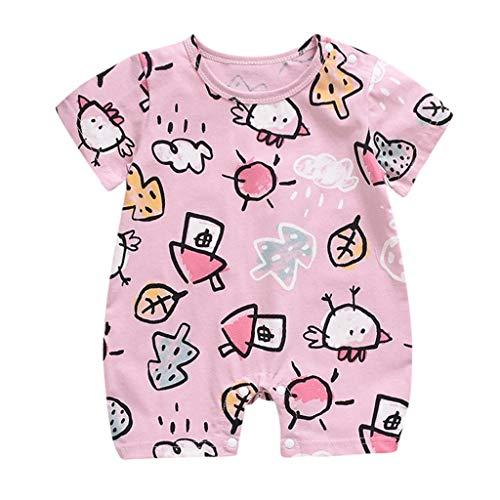 jerferr Softshell Overall Sommer-Säuglings-Kurzarm-Karikatur-Druck-Bodysuit-Spielanzug-Kleidung (Teddy Bear Kleinkind Kostüm)