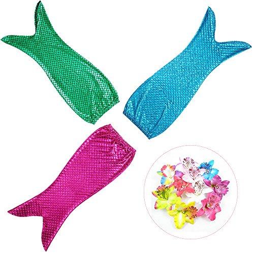 Daxiang Meerjungfrauschwanz-Kostüm, glänzend, zum Schwimmen geeignet, Badeanzug für Prinzessin-Cosplay, 008, Mixed Group-three Colors, (6-7Jahre)