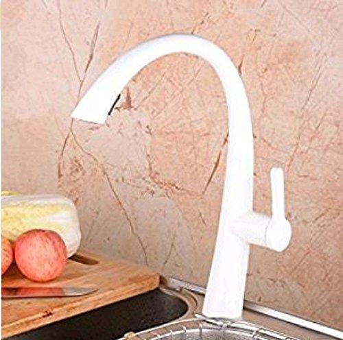 Bijjaladeva Wasserhahn Bad Wasserfall Mischbatterie Waschbecken Waschtisch Armatur Waschbeckenarmatur für BadezimmerWeiße Küche Wasserhahn mit am Griff ziehen, um 360° drehbarer Wasserhahn (Einfach Am Griff Ziehen)